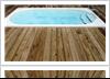 Swim spa installed next to a deck